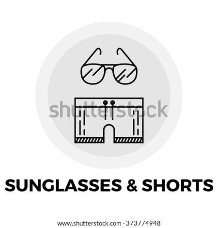 Sunglasses and Shorts Icon Vector. Sunglasses and Shorts Icon Flat. Sunglasses and Shorts Line icon. Sunglasses and Shorts Icon JPEG. Sunglasses and Shorts Icon EPS - stock vector