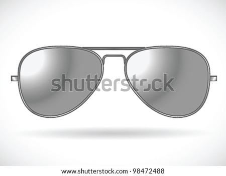 Sunglasses (aviator silver isolated)- vector illustration Shadow and background on separate layers. Easy editing. - stock vector