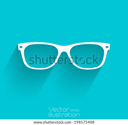 Sunglasses icon with long shadow-EPS10 - stock vector