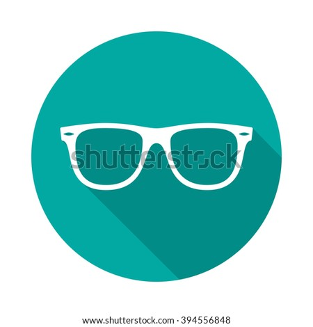 Sunglasses icon with long shadow. Flat design style. Round icon. Sunglasses silhouette. Simple circle green icon. Modern flat icon. Web site page and mobile app design element. - stock vector