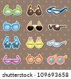Sunglasses set stickers - stock vector