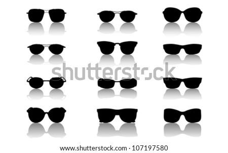 Sunglasses set, vector - stock vector