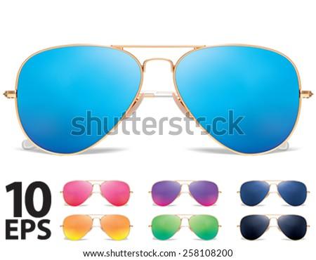 Sunglasses vector icon set. Vector illustration - stock vector