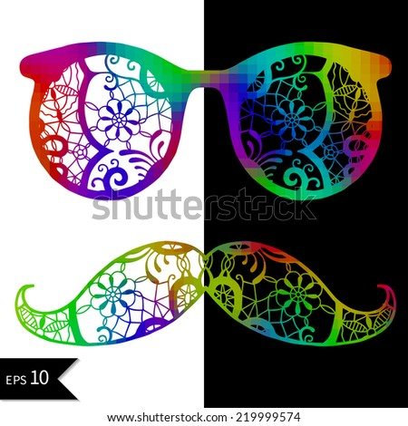 Sunglasses with neon reflection and mustache for hipster. Vector illustration of accessory retro eyeglasses isolated, hand drawn abstract artwork, lace pattern on black and white background - stock vector