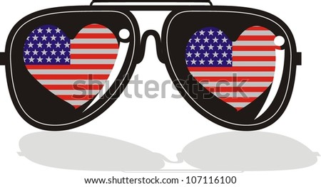 Sunglasses with reflection - stock vector