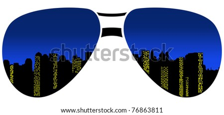 sunglasses with reflection of night city - stock vector