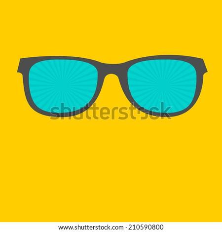 Sunglasses with sunburst glasses. Flat design style. Vector illustration - stock vector