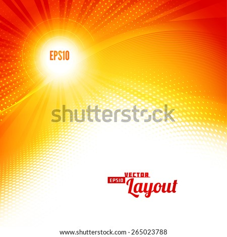 Sunlight. Abstract modern hot summer backgrounds with lighting effect. Bright shiny cover design template layout for corporate business book, booklet, brochure, poster, banner, flyer. Vector - stock vector