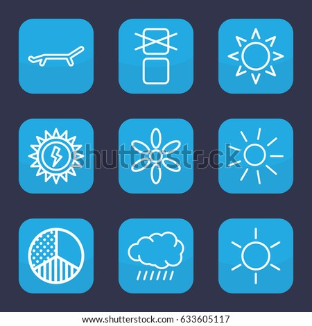 Sunlight icon. set of 9 outline sunlight icons such as sun, cargo only in box allowed, brightness
