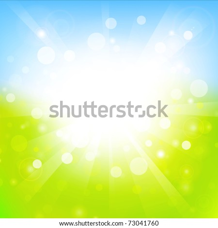 sunny abstract light green and blue background with copyspace - stock vector