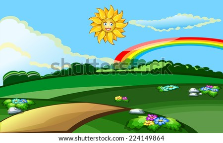 Sunny baby background with the sun and the clearing vector - stock vector