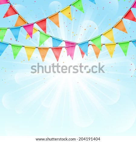 Sunny background with color flags. Festive background with a garland from tags and confetti - stock vector