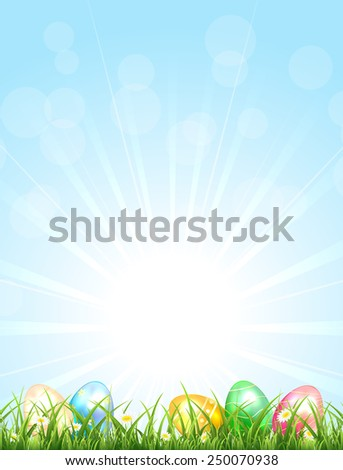 Sunny background with Easter eggs in the grass, illustration. - stock vector