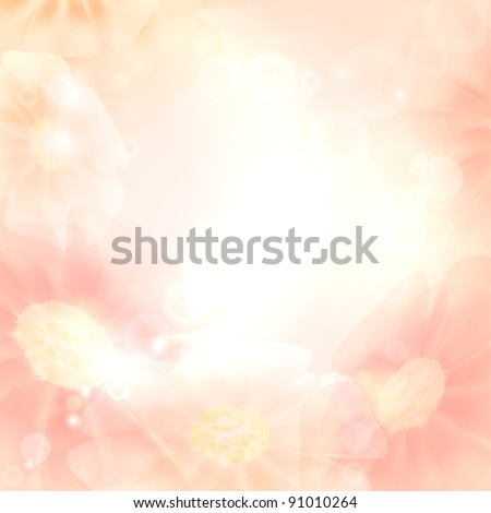 Sunny background with flowers - stock vector