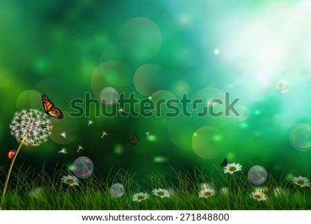 Sunny background with three butterflies. vector - stock vector