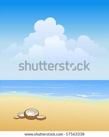 Sunny beach - stock vector