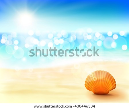 Sunny beach. Vector Illustration.  - stock vector