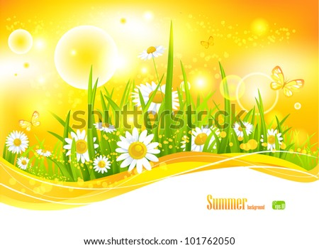 Sunny bright background with sunlight and flowers for your design - stock vector