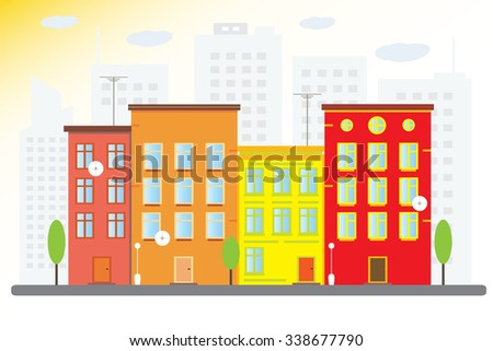 sunny city, with beautiful houses. city landscape. vector illustration - stock vector