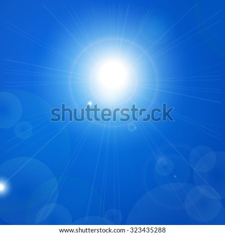Sunny day and a clear sky background - stock vector