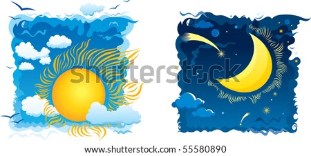 Sunny day and moonlit night with sky and clouds - stock vector