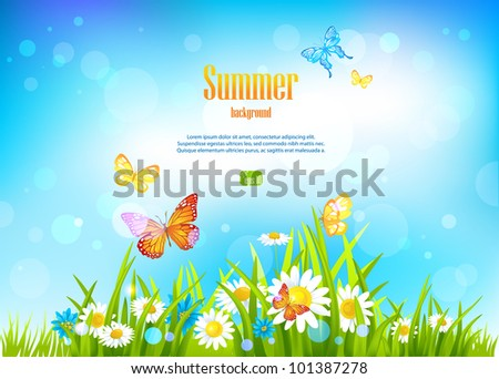 Sunny day background and flowers with space for text. - stock vector