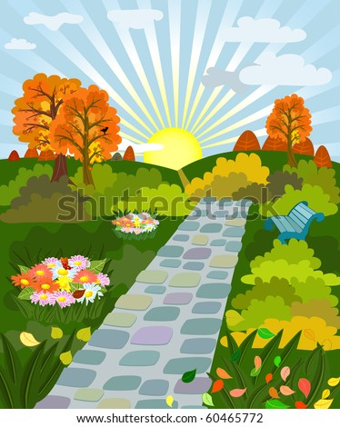 sunny day in autumn park - stock vector