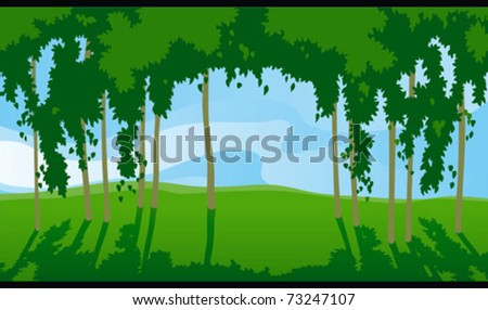 Sunny day in forest. Horizontal vector   landscape with green trees