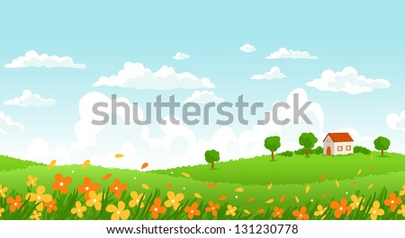 Sunny day seamless landscape with house on a hill and flower field. - stock vector