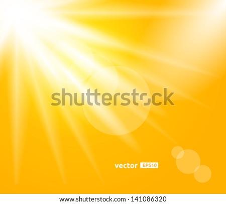 Sunny Day. Sunrays Vector Design Background. - stock vector