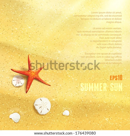 Sunny Dunes with Starfish, Sand Dollars and Seashells. Vector illustration, eps10, editable.