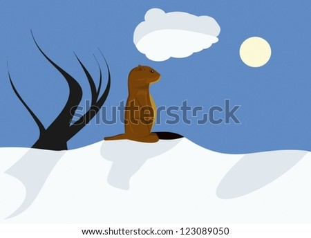 Sunny Groundhog day with deep blue sky and shadows - stock vector