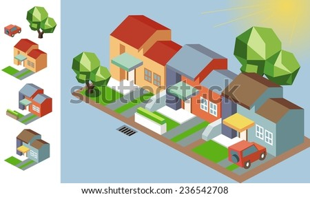 Sunny isometric environment. vector illustration - stock vector