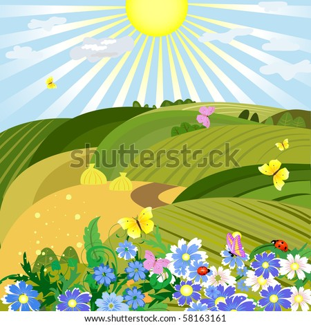 Sunny natural landscape - stock vector