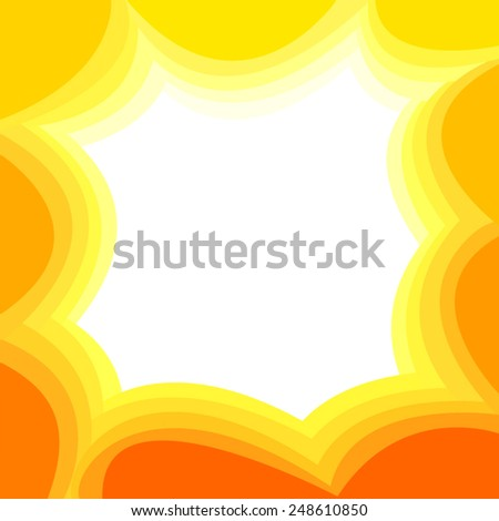 Sunny orange background with waves - stock vector