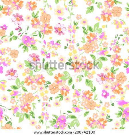 sunny pastel floral print ~ seamless background - stock vector