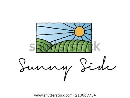 Sunny Side Sun Logo, Green Healthy concept - stock vector