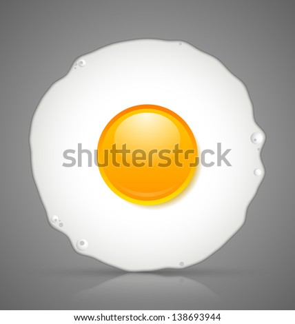 Sunny side up fried egg icon isolated on grey background - stock vector