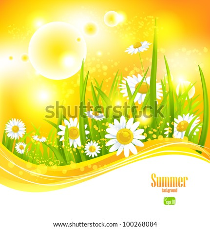 Sunny summer background with sunlight and flowers for your design - stock vector