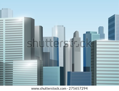 Sunrise cityscape vector stock illustration background - stock vector