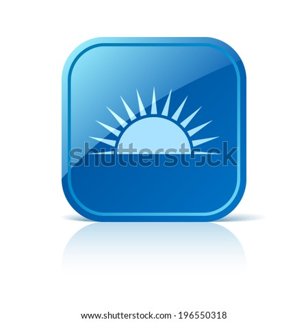 Sunrise icon on blue web button - stock vector