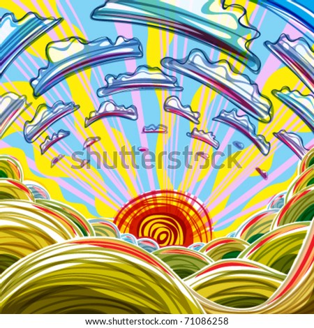 Sunrise illustration. Bright, colorful, cartoon style. - stock vector