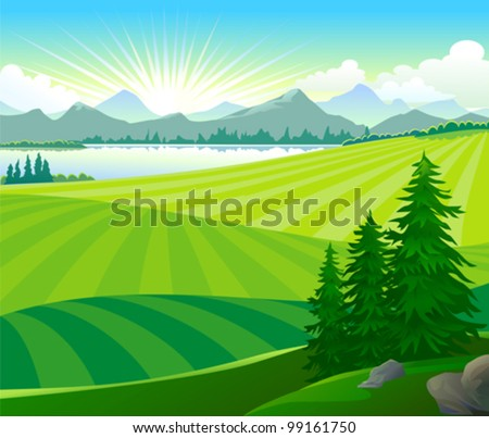 SUNRISE IN GREEN HILLS - stock vector