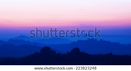 Sunrise in the mountains landscape. Vector illustration. - stock vector