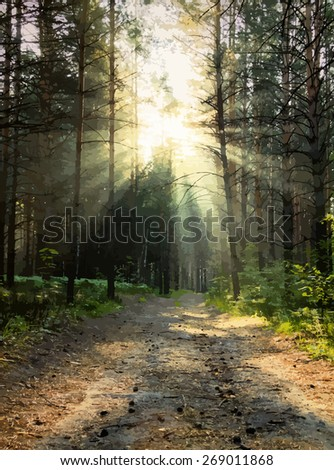 sunrise in the woods, vector. - stock vector