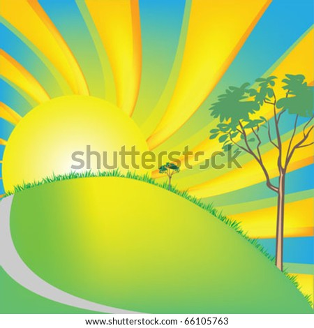 sunrise landscape vector illustration - stock vector