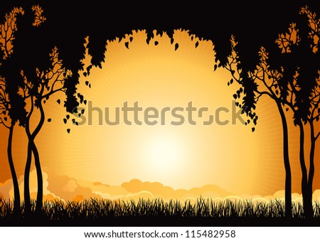 Sunrise landscape. Vector  silhouette of  many  trees  and grass at sky with sun and sunbeam. - stock vector