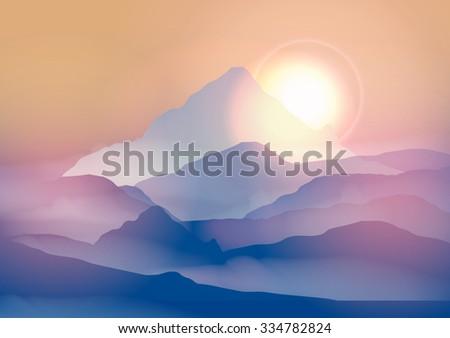Sunrise Mountain Landscape - Vector Illustration - stock vector