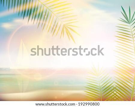 Sunrise on Caribbean beach design template. EPS10 - stock vector