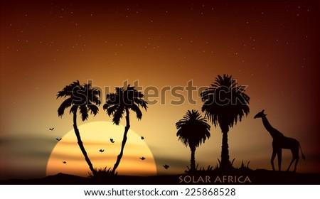 sunrise over the African savanna giraffe and palm trees - stock vector